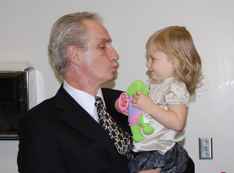 Nonno getting a kiss from Bella (she did kiss him back ;) )