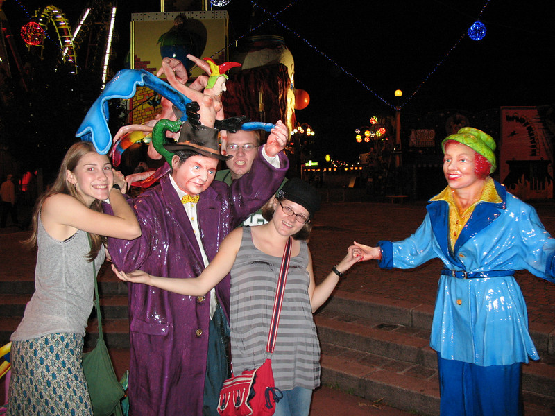 Lydia, Scowling tentacle man in Purple with a topless jester on his head, Matt, Purple Arm, Me, Jolly Blue Woman (?)