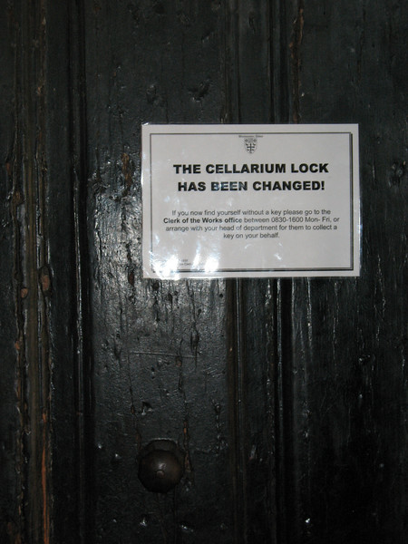 This must be the fellowship hall door in Westminster Abbey. If this concerns you, don't forget your Cellarium key.