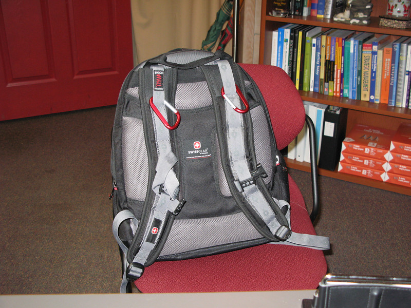 This is Larry's backpack loaded and ready to go.