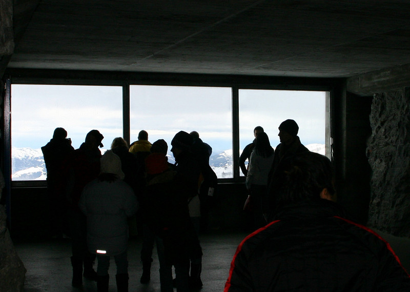 Crowd at Eigerwand Station scenic overlook.  This is inside the Eiger.