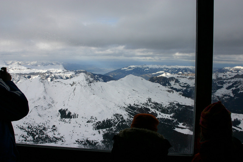 View from Eigerwand Station inside the Eiger.   That's Thunersee in the distance.