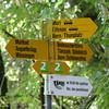 Wanderweg signs on trail along Aare