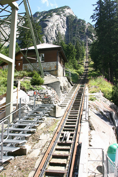 Gelmerbahn, with a 106% grade, the steepest cable railway in the world.
