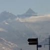 Zoom of the mountains beyond Visp