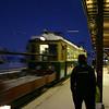 Train approaching Bahnhof at Kleine Scheidegg