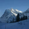 View from train to Kleine Scheidegg.   Opinions about which peak(s) this is would be welcomed.