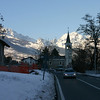 A church and mountains north of the Aosta valley near Signayes