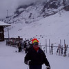 Steve at the base of the Lauberhorn lift.   That's the Eiger in the background.