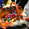 Decorated basket full of eggs