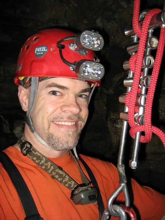 7/4/2007 On rope in the entrance pit to King Leo cave at 4:30AM.  Ah the oddities of life as a night shifter.
