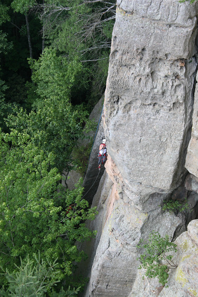Terri towards the bottom of Chimney Top Rock.
