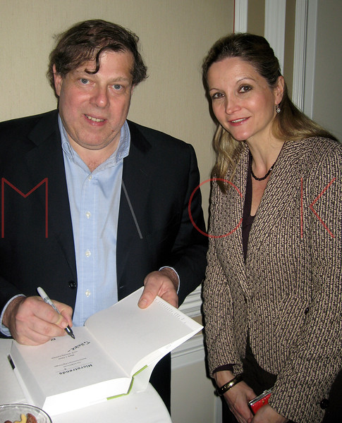 """Mark Penn and Heike Vogel at booksigning for """"Microtrends"""" New York City. Dec. 5th, 2007.  David Steiner of Steiner Studios and his wife Sylvia hosted a book signing for Mark J. Penn's newest book, Microtrends at The Regency Hotel. (By Sara Herbert-Galloway)"""