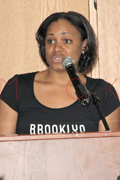 DeShele Dorsey welcoming students at The New York Urban League Young Professionals (NYULYP) annual National Day of Service (NDOS) at the Harlem Children's Zone, located at 35 East 125th Street, New York, NY.  <center>New York, NY May 5, 2007 ***EXCLUSIVE*** Photo by ©Steve Mack