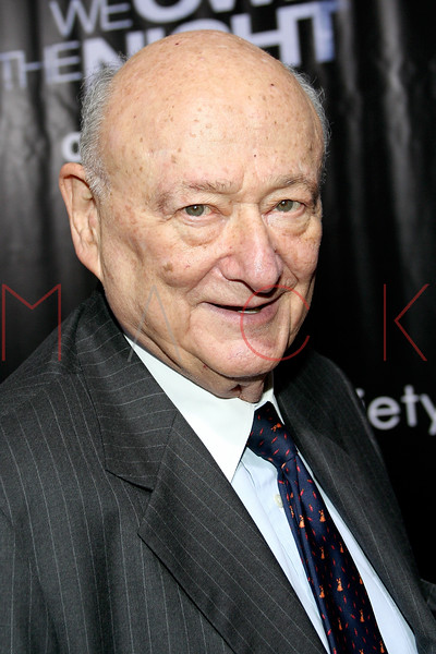 """NEW YORK - October 9: Mayor Ed Koch at The Cinema Society Presentation of """"We Own The Night"""".  (Photo by Steve Mack/S.D. Mack Pictures).  Note: These images are available for licensing through <a target=""""_blank"""" title=""""Licensing through FilmMagic"""" href=""""http://filmmagic.com"""">FilmMagic</font></a> and <a target=""""_blank"""" title=""""Licensing through Getty Images"""" href=""""http://gettyimages.com"""">Getty Images</font></a>."""