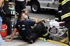 A North Hudson Firefighter  receives oxygen from EMS.
