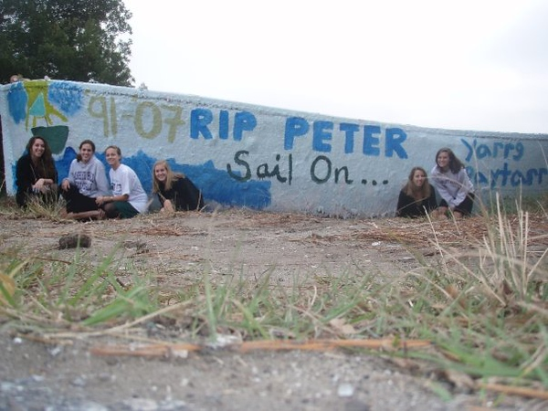 Boat painted in memory of Peter Marenakos, a junior at Porter Gaud, by Marycole McCants, Tory Corless, Arden Hare, Claire Kruse, Katherine Morrison, Rachel Ellyn, Stephanie Popowski, and Daniel McKnight on December 7th, 2007.