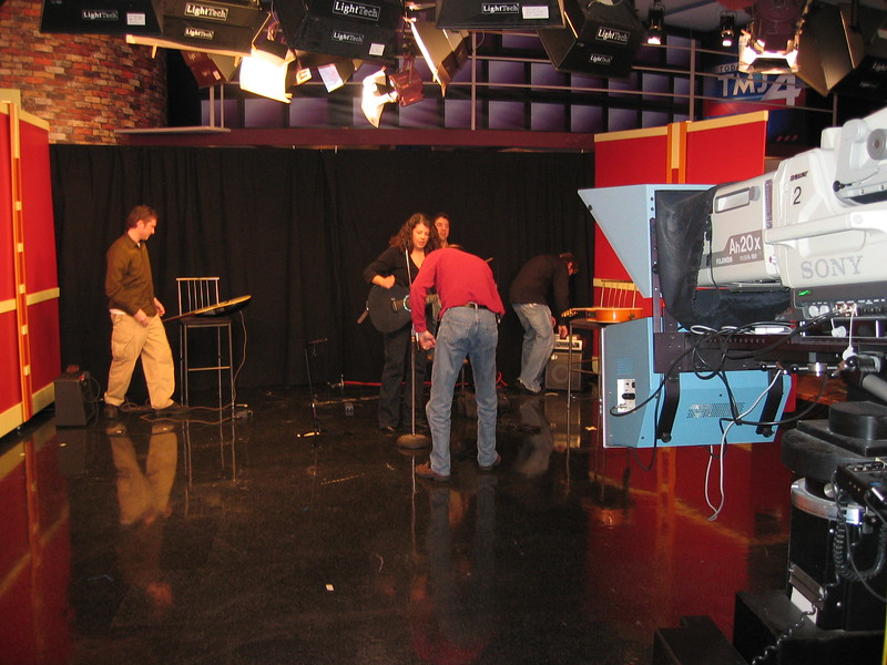 Friday, April 13th: WTMJ-The Morning Blend. Setting up before the show.