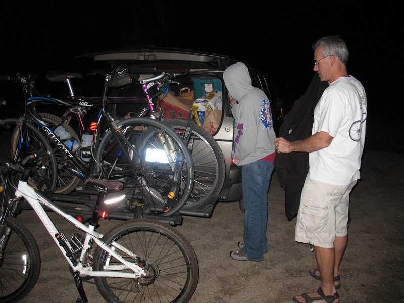 First night -unloading at Potrero Campground