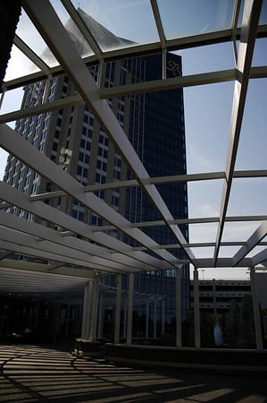 The curved pergola entrance to the Turning Stone casino complex -- a first class venue for sure!