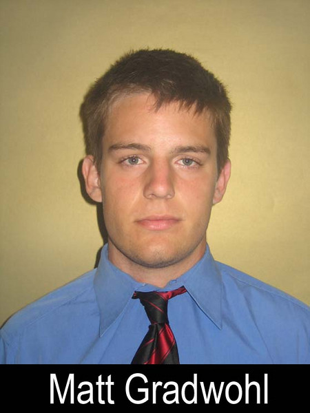 """Matt Gradwohl<br /> Graduation Year: 2008<br /> Jersey Number: 50<br /> Position: D-Line<br /> Height: 5'10""""<br /> Weight: 180<br /> Bench Max: '<br /> Squat Max: '<br /> Power Clean Max: '<br /> Parent(s): Bob & Sharon Ann Gradwohl<br /> Siblings: <br /> Brophy Activities/Clubs: Junior Class Senator, Sophomore Class Senator, Arizona Boys State Delegate, Kairos 86, Frosh Retreat Leader.<br /> Favorite Book: Rainbow Six<br /> Favorite Movie: Band of Brothers<br /> Favorite all time NFL Player: <br /> Pet Peeve: <br /> Most Influential Person(s) In My Life: <br /> One interesting thing I'd like people to know about me:"""