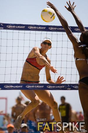 Diane DeNecochea fires a ball past the block