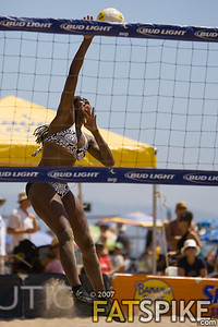 Annett Davis hammers a ball