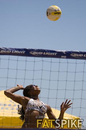 Annett Davis winds up for a spike
