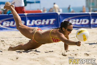 Angela Lewis stretches out for this dig