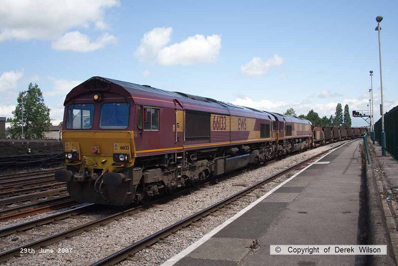 070629-016     EWS class 66/0s no's 66133 and 66136 are seen passing Newport, double heading a unidentified freight train.