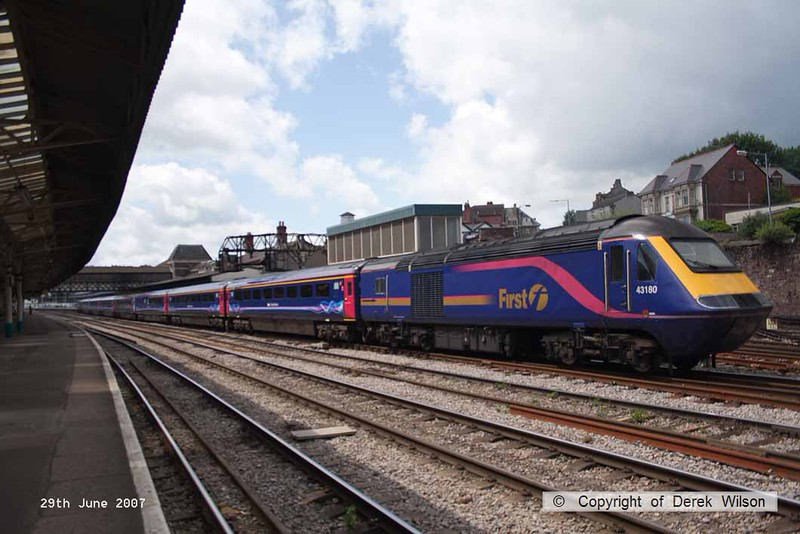 070629-022     A First Great Western HST top and tailed by class 43 power cars no's 43183 and 43180 is captured arriving at Newport, Gwent. Nearest the camera, at the rear of the train is 43180.