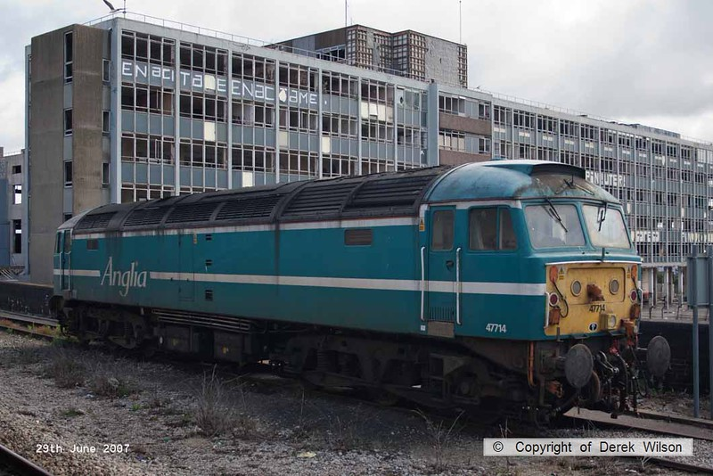 070629-001     Former Anglia Railways class 47/7 no 47714, seen stabled at Bristol Temple Meads.