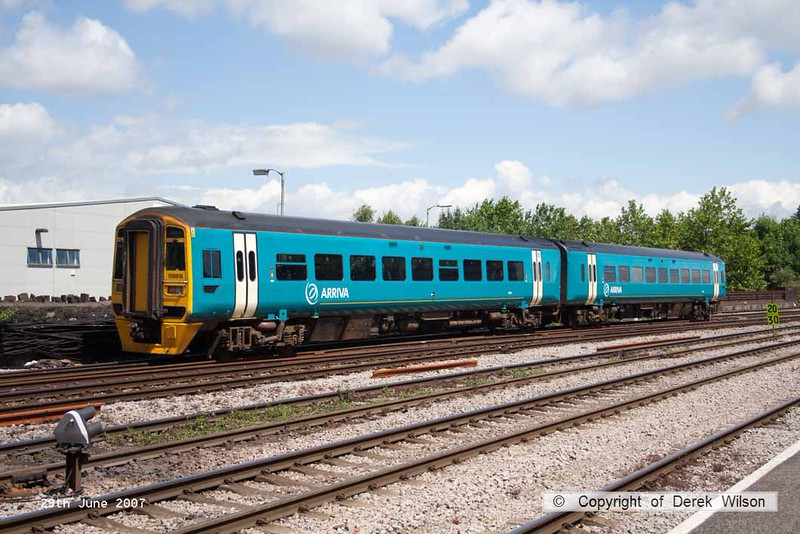 070629-017     Arriva Trains Wales class 158 unit no 158818 is seen at Newport, Gwent.