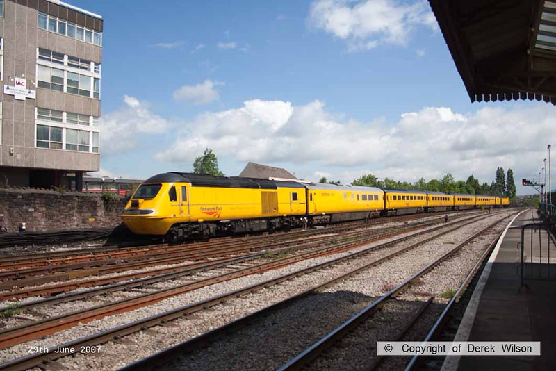 070629-010     Network Rail's New Measurement Train is seen passing through Newport with test train 1Z20, 09.47 Swansea to Derby Etches Park. The power cars were unidentified.