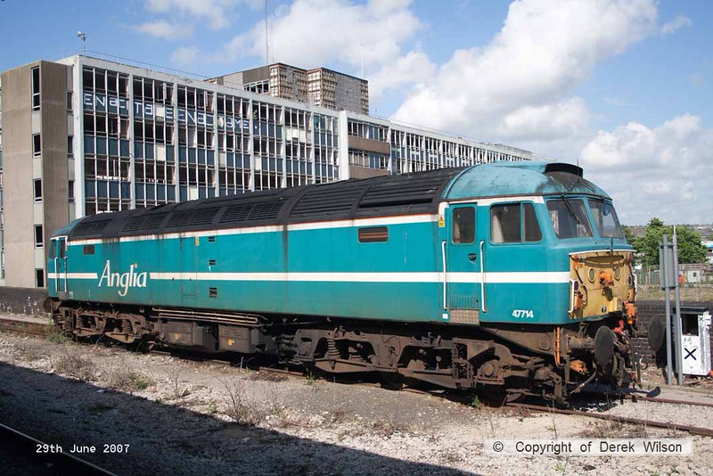 070629-058     Former Anglia Railways class 47/7 no 47714, seen stabled at Bristol Temple Meads.