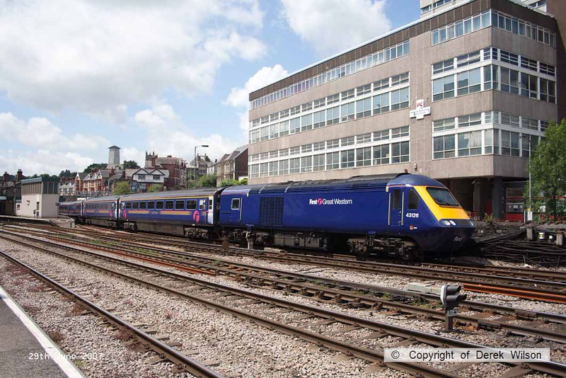 070629-026     First Great Western HST power car, class 43 n0 43126 is seen pulling away from Newport, Gwent with a London Paddington bound express.