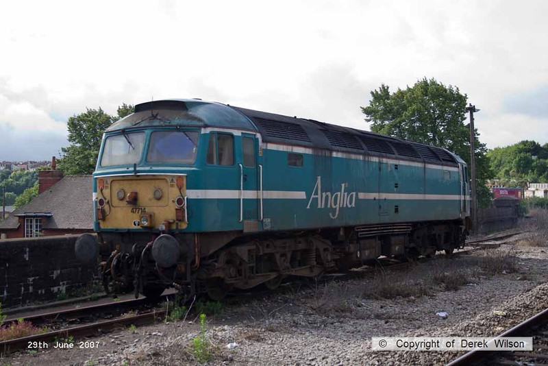 070629-003     Former Anglia Railways class 47/7 no 47714, seen stabled at Bristol Temple Meads.