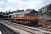 070629-028     EWS class 66/0 no 66216 is seen running 'light engine' through Newport, Gwent