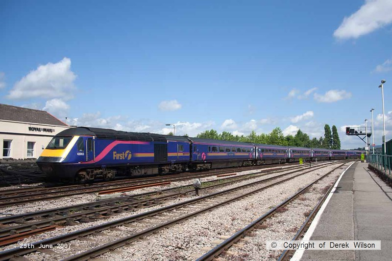 070629-027     FGW HST power car, class 43 no 43063 is seen leaving Newport at the rear of a Paddington bound express. At the front was 43126.