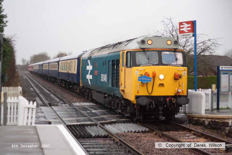 071208-013     Class 50 no 50049 Defiance passes through Collingham, in the rain, powering Pathfinder Tours, The Lincoln Marketeer, train 1Z50, the 05.50  Salisbury Lincoln -Market Rasen - Barnetby.