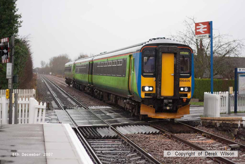 071208-011     East Midlands Trains class 156 unit no 156405 is seen passing Collingham with the 11.34 Newark North Gate to Grimsby Town.