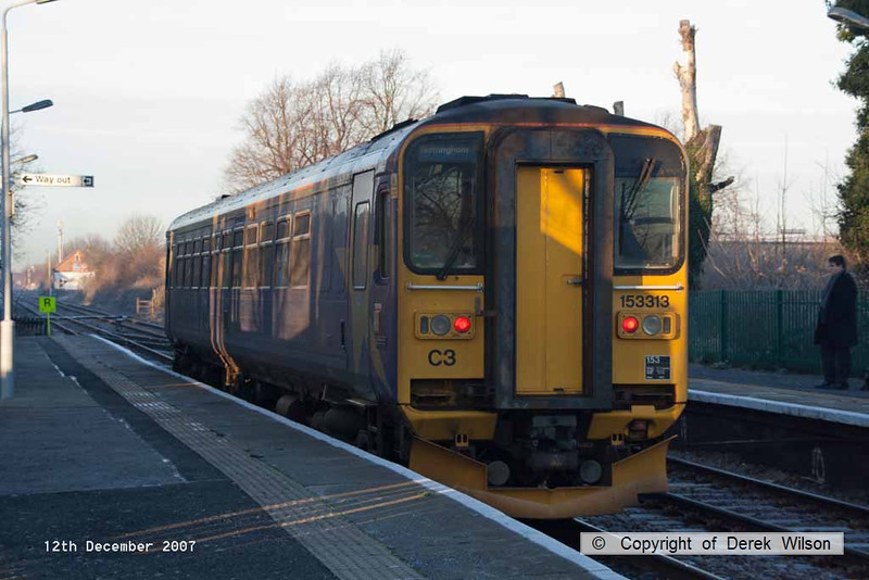 071212-007     East Midlands Trains class 153 unit no 153313 calls at Bingham with the 07.15 Skegness to Nottingham.