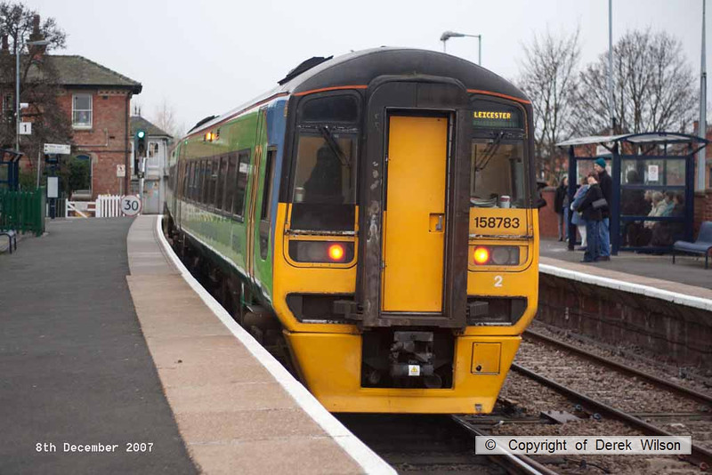 071208-006     East Midlands Trains class 158 unit no 158793 calls at Newark Castle with the 09.23 Lincoln Central to Leicester.