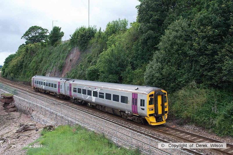 070624-007     First Great Western, ex Wessex Trains class 158 unit no 158746 is seen from Shaldon bridge passing the Teign estuary.