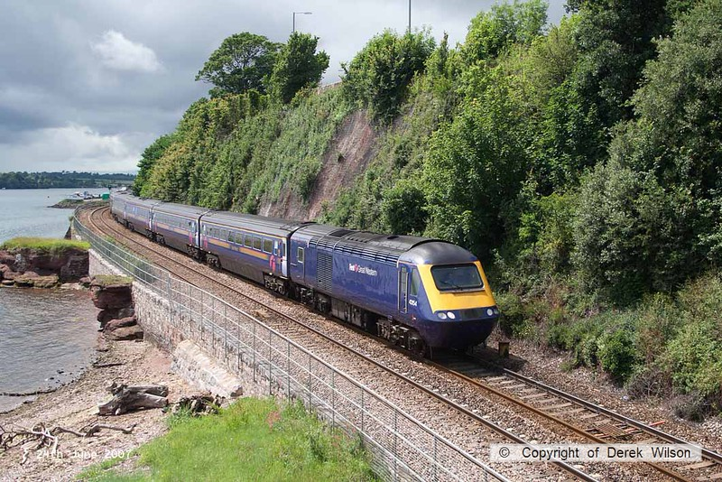 070624-001     A First Great Western HST led by 43154 is seen passing the Teign estuary with the 11.42 Penzance to London Paddington.
