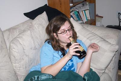 Maria drinks daintily