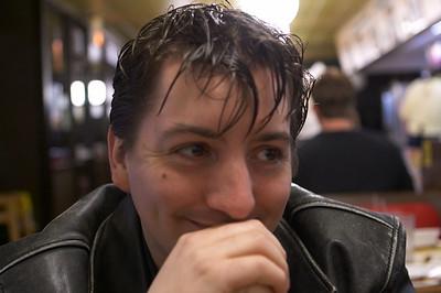 Dan at his happiest -- waiting for food at Waffle House