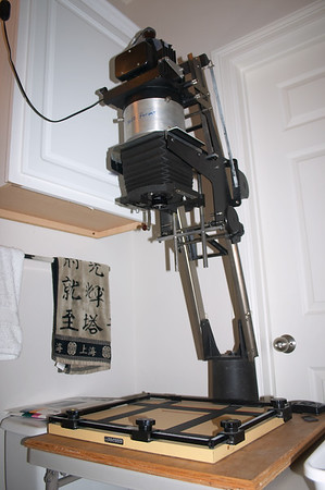The enlarger can print film from 35mm up to 4x5""