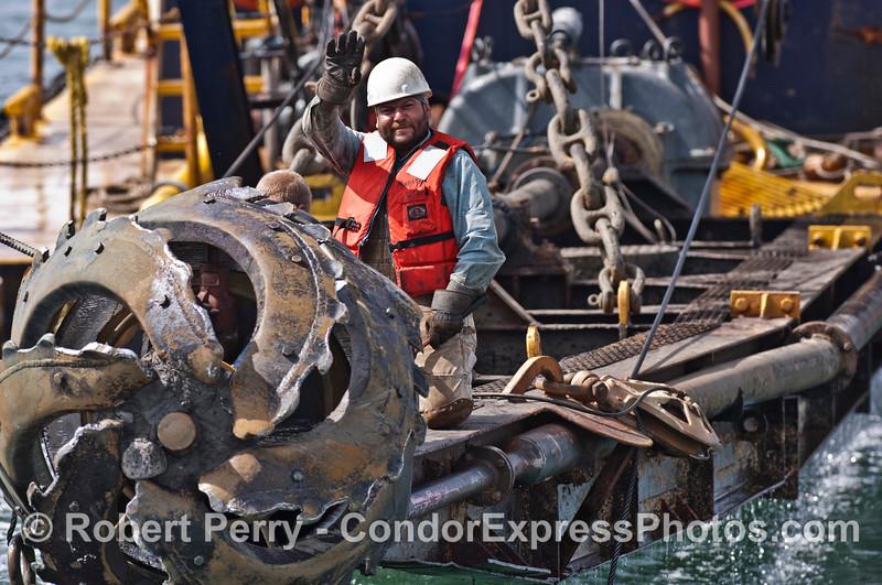 crew of vessel dredge barge Encina 2007 03-04 SB Channel-c-004