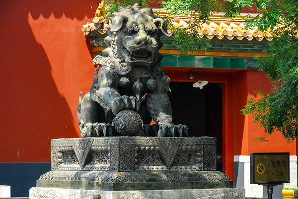 A statue of a Chinese Buddhist lion from the Lama Temple in Beijing.